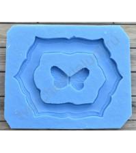 Форма силиконовая (молд) для полимерной глины, Большая рамка с бабочкой, 2 элемента