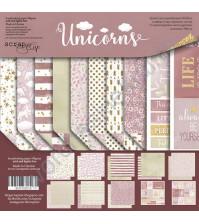 Набор двусторонней бумаги Unicorns, 20х20 см, 190 гр/м, 8 двусторонних листов+2 односторонних листа с карточками
