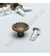 Металлический декоративный элемент Ручка для шкатулки Спираль, 1.3х1.3 см, цвет бронза