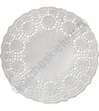 Салфетка бумажная ажурная 120 мм цвет белый, 1 шт