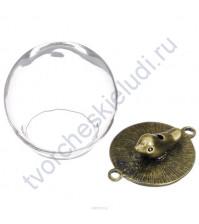 Стеклянный кулон-шар с птичкой и 2-мя креплениями, 20 мм