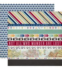 Бумага для скрапбукинга двусторонняя коллекция Getaway, 30.5х30.5 см, 190 гр/м, лист Border Strips