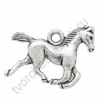 Подвеска металлическая Лошадь, 15х19 мм, цвет серебро
