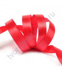 Лента атласная 25 мм, цвет красный-112, 1 метр