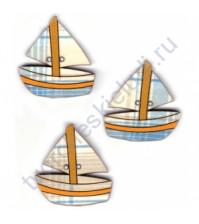 Набор декоративных пуговиц Кораблик, 3 элемента