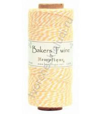 Шнур (шпагат) хлопковый Bakers Twine, диаметр 1 мм, цвет желтый-белый, 1 метр