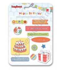 Набор эпоксидных наклеек С днем Рождения (RU) SCB34001075