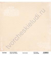 Бумага для скрапбукинга односторонняя, коллекция Базовая бежевая, 30х30 см, 250 гр/м2, лист Сердечки