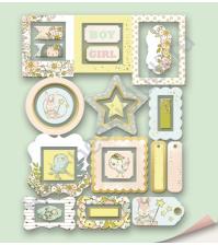 Набор декоративных рамок с фольгированием, коллекция Boy or Girl, 25 шт