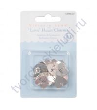 Набор металлических подвесок Сердце Love, 16х16 мм, 20 шт, цвет серебро