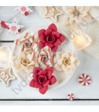 Цветы ручной работы из ткани и замши Рождество, 6 шт