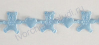 Лента декоративная вырубная Мишка с  сердцем, шир. 15 мм, цвет голубой, 1 метр