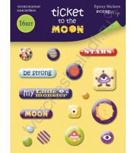 Набор эпоксидных наклеек Ticket to the Moon, 16 элементов