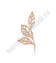 Вырубка из дизайнерской бумаги Резные листики на ветви, 49х79 мм, цвет в ассортименте