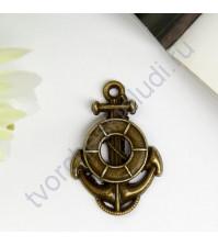 Подвеска металлическая Якорь и спасательный круг, 17х24 мм, цвет бронза