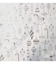 Прозрачный ацетатный лист с серебряным фольгированием Ёлочные игрушки, 30.5х30.5 см, 150 гр/м