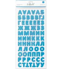 Набор вырубных элементов (чипборд) на клеевой основе Алфавит, толщина 1.2 мм, 144 элемента, цвет Небесный