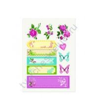 Тканевые стикеры Цветочная вышивка 2, 14х20 см