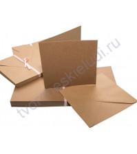 Заготовка для открытки с конвертом, 13.5х13.5 см, цвет крафт, 1 шт