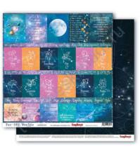 Бумага для скрапбукинга двусторонняя коллекция Космос, 30.5х30.5 см, 190 гр/м, лист Карточки-1