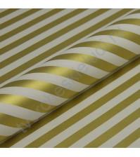 Бумага упаковочная перламутровая Золотые полосы, 80 гр/м2, ширина 53 см, длина 1 метр