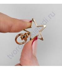 Карабин Звезда, 2.4х3.4 см, цвет золото