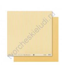 Бумага для скрапбукинга двусторонняя Базовая Полоска 30.5х30.5 см, 180 гр/м2, лист Желтый