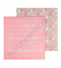 Бумага для скрапбукинга двусторонняя 30.5х30.5 см, 180 гр/м2, лист Елочки
