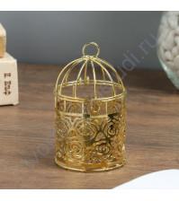 Золотая клетка с розами, 10.5х6х6 см, металл