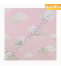 Бумага для скрапбукинга с голографическим фольгированием 20х21.5 см, 250 гр/м2, лист Волшебные облака