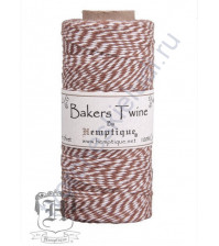 Шнур (шпагат) хлопковый Bakers Twine, диаметр 1 мм, цвет коричневый-белый, 1 метр