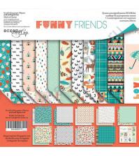 Набор двусторонней бумаги Funny Friends, 30.5х30.5 см, 190 гр/м, 11 листов