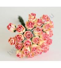 Бутоны роз полураскрытые 10 мм, 5 шт, цвет желтый с розовым