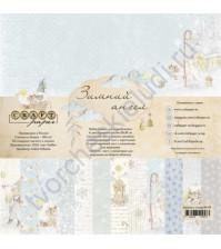 Набор бумаги Зимний ангел, 20х20 см, 190 гр/м, 6 двусторонних листов + 2 листа с карточками