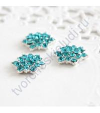 Декоративный элемент со стразами 15 мм, цвет голубой