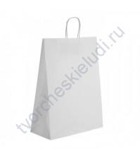 Пакет крафт с кручеными ручками белый, 35х15х45 см