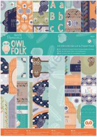 Набор бумаги для скрапбукинга и бумаги с высечкой Owl Folk, формат А4, 48 листов