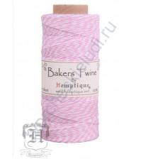Шнур (шпагат) хлопковый Bakers Twine, диаметр 1 мм, цвет светлый розовый-белый, 1 метр