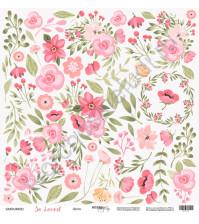 Бумага для скрапбукинга односторонняя 30.5х30.5 см, 190 гр/м, коллекция So Loved, лист Цветы