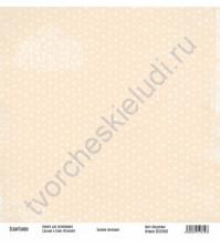 Бумага для скрапбукинга односторонняя, коллекция Базовая бежевая, 30х30 см, 250 гр/м2, лист Звездочки