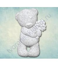 Форма силиконовая (молд) Мишка Тедди с цветами, 40х50 мм