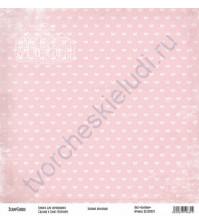 Бумага для скрапбукинга односторонняя, коллекция Базовая розовая, 30х30 см, 250 гр/м2, лист Бантики