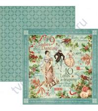 Бумага для скрапбукинга двусторонняя коллекция 12 Days Of Christmas Collection, 30.5х30.5 см, 170 гр/м, лист Ladies Dancing