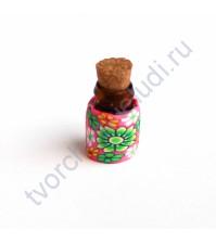 Стеклянная бутылочка с пробкой, 19х13 мм, цвет зеленые цветы на розовом