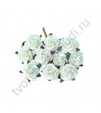 Мини-розочки  1.5 см, 10 шт, цвет белый с мятными кончиками