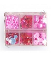 Набор декора Gem, 278 элементов, цвет розовый