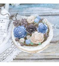 Цветы ручной работы из ткани, 16 шт, цвет шоколадно-голубой микс