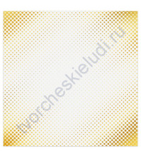 Бумага для скрапбукинга односторонняя с фольгированием золотом 30.5х30.5 см, 180 гр/м2, лист Мгновение