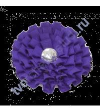 Цветок из ткани с хрустальной сердцевинкой, диаметр 8 см, цвет синий