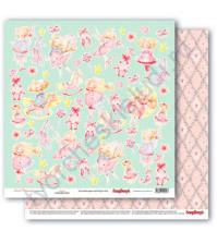 Бумага для скрапбукинга двусторонняя коллекция Маленькая принцесса, 30.5х30.5 см, 190 гр/м, лист Вырезалки